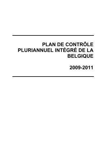 plan de contrôle pluriannuel intégré de la belgique 2009-2011 - Favv
