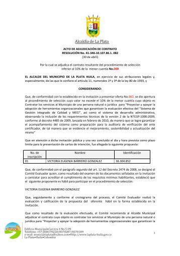 RESOLUCION ADJUDICAACION 060 - La Plata