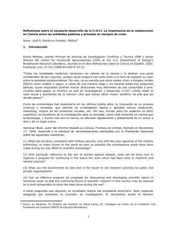 Reflexiones sobre el necesario desarrollo de la I+D+I. La ... - Madri+d