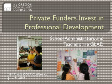 Private Funders Invest in Professional Development - Cosa
