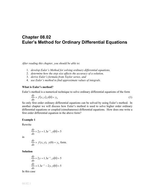 Differential examples ordinary equations Differential Equations
