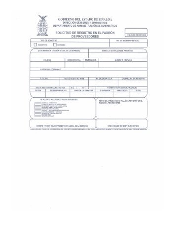 Solicitud y Requisitos al Padrón de Proveedores - Gobierno del ...