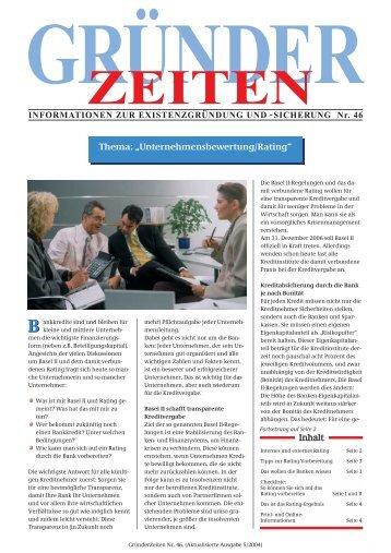 """Thema: """"Unternehmensbewertung/Rating"""" Inhalt"""