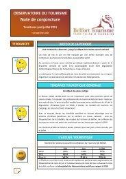 Note de conjoncture Juin/Juillet 2011 - Belfort Tourisme