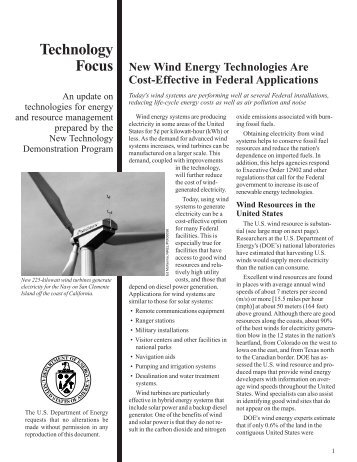 New Wind Energy Technologies Are Cost-Effective in Federal ...