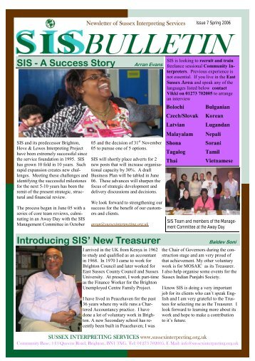 SIS Bulletin 7 – Spring 2006 - Sussex Interpreting Services