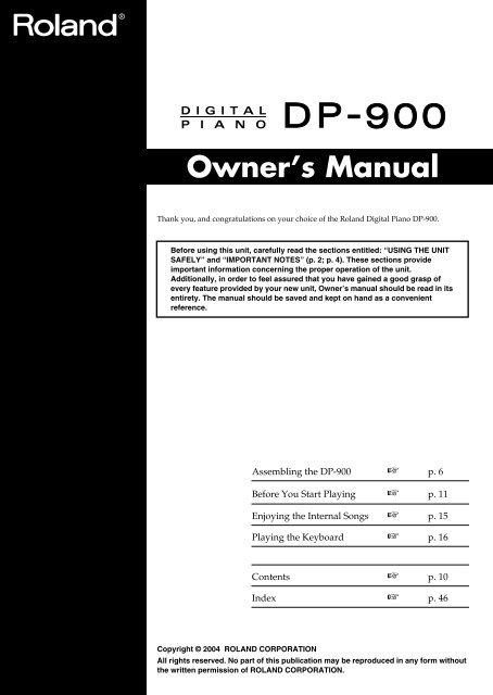 Owner's Manual (DP-900_OM.pdf) - Roland