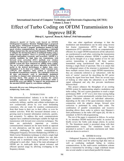 Effect of Turbo Coding on OFDM Transmission to Improve BER