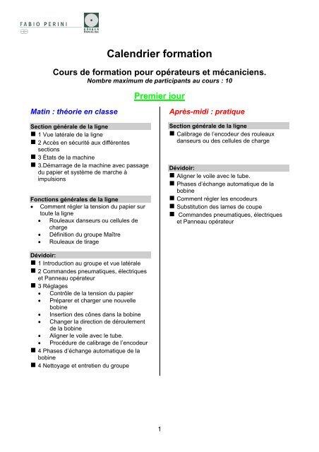 Calendrier Definition.Calendrier Formation Fabio Perini Spa