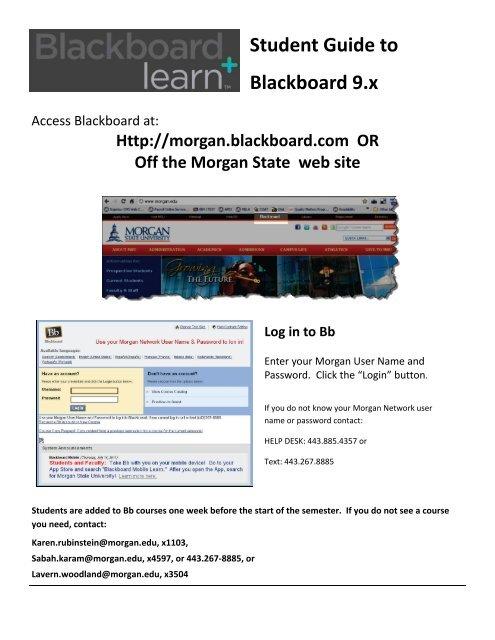 Student Guide to Blackboard 9 x - Morgan State University