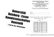 Universität Duisburg - Essen Bauwissenschaften Baustatik