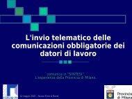 L'invio telematico delle comunicazioni obbligatorie dei datori di ...