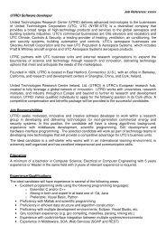 UTRCI Software developer United Technologies Research Center ...