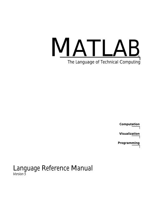 MATLAB Language Reference Manual