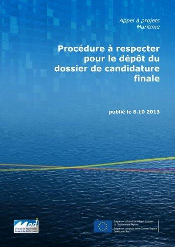 Procédures de dépôt des candidatures - Programme Med