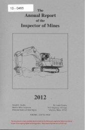 Annual Report of the Inspector of Mines - Minnesota State Legislature