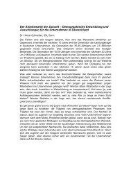 Der Arbeitsmarkt der Zukunft – Demographische Entwicklung und ...