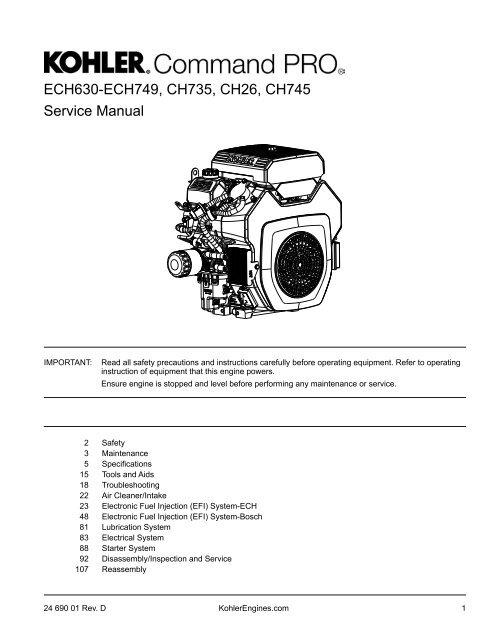 kohler command pro ech630 ech749 ch735 ch26 ch745 service