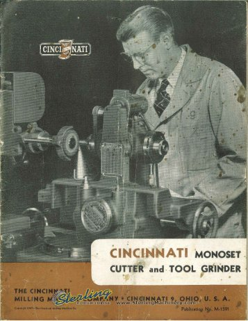 Cincinnati Monoset Cutter and Tool Grinder Brochure - Sterling ...