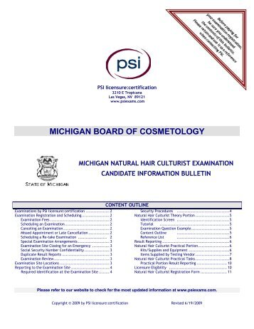 MICHIGAN BOARD OF COSMETOLOGY - PSI