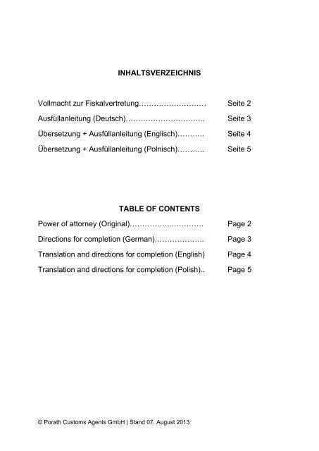 Inhaltsverzeichnis Vollmacht Zur Fiskalvertretung Porath