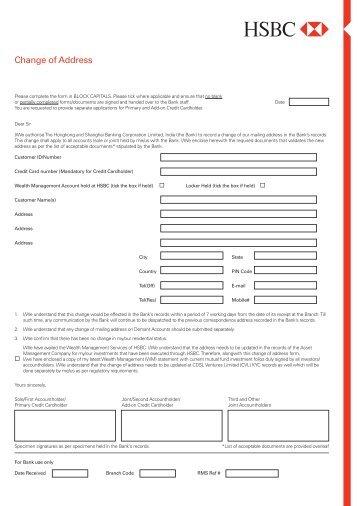 how to change address on hsbc account online