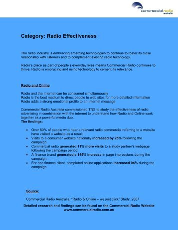 Category: Radio Effectiveness - Commercial Radio Australia