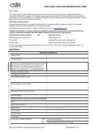 Local Supplier Registration Form - CSIR