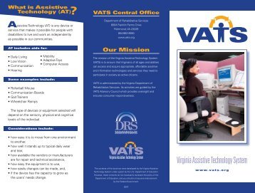 VATS Brochure - Virginia Department for Aging and Rehabilitative ...