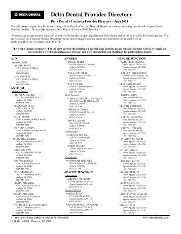 delta dental provider listing