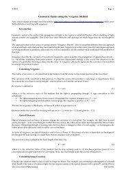 Geometric Optics using the Vergence Method - Physics - University ...
