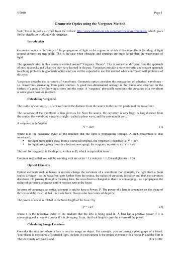 Geometric Optics using the Vergence Method - Physics - University ...