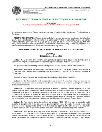 reglamento de la ley federal de protección al consumidor - IDConline