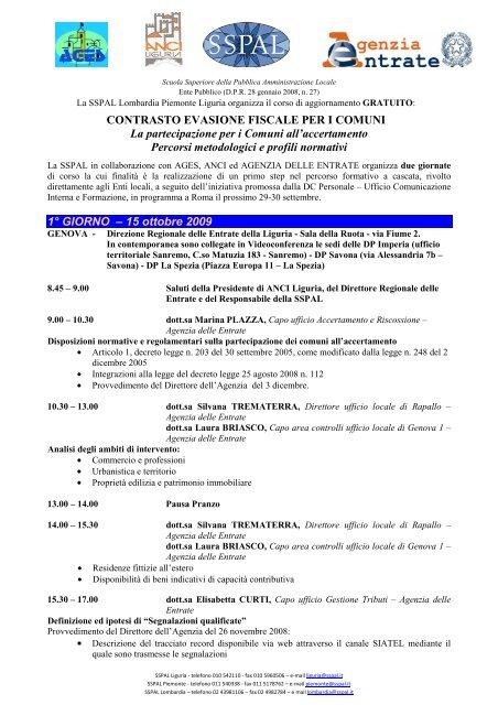 Corso La Partecipazione Per I Comuni All Accertamento Percorsi