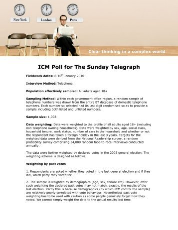 Post Snow Plot Poll for Sunday Telegraph - ICM Research