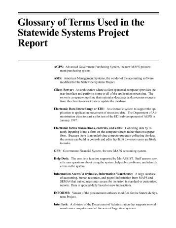 Glossary of Terms Used in the Statewide Systems Project Report