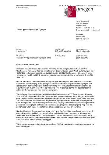 Brief d.d. 29 mei 2012 met bijlage - Gemeente Nijmegen