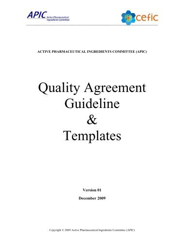 Quality Agreement Guideline - Active Pharmaceutical Ingredients ...