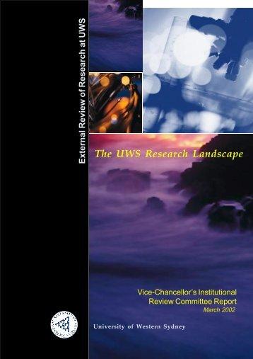 Research Landscape Report - University of Western Sydney