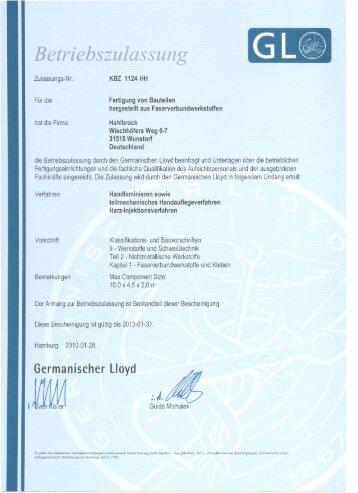Betriebszulassung durch den Germanischen Lloyd - Hahlbrock