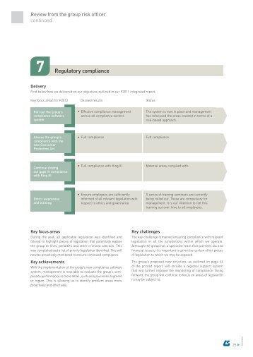 Regulatory compliance - Group Five