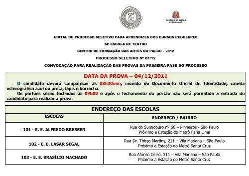 data da prova – 04/12/2011 endereço das escolas - Instituto Mais