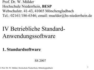 Anwendungssoftware - Hochschule Niederrhein