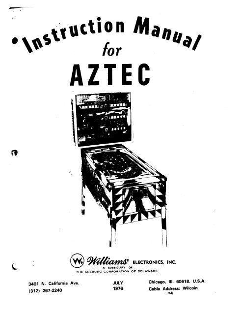 Instruction Manual for Williams Electronics AZTEC Pinball