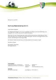 Mitgliederbeiträge für die Saison 2012/2013 Passive - FC Reinach