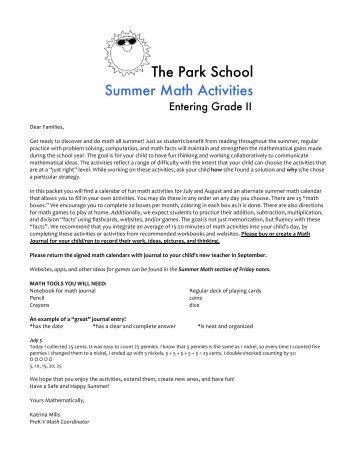 grade one summer activities calendar