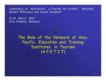 The Role of the Network of Asia- Pacific Education and ... - Unctad XI