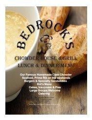 Bedrocks Chowder House & Grill Lunch Menu