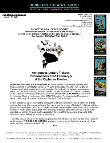 Announces Lottery Tickets, Performances Start February 5 at the ...