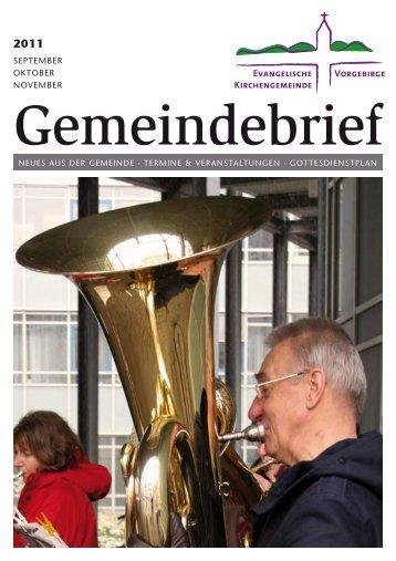 Gemeindebrief der Evangelischen Kirchengemeinde Vorgebirge ...
